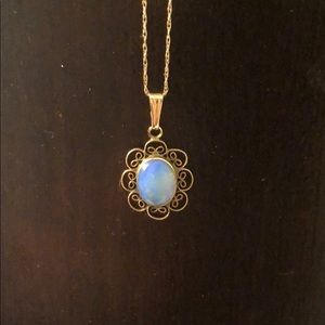 14k yellow gold necklace with genuine opal pendant